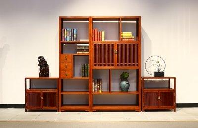 宁波景红木堂国标红木家具明式书柜简约大气