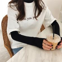 2018春季韩版套头短袖上衣宽松字母加厚圆领T恤女装