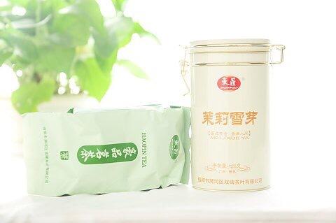 信阳豪品茶叶 125g高档铁罐茉莉雪芽 广西横县2016新茶 茉莉花茶